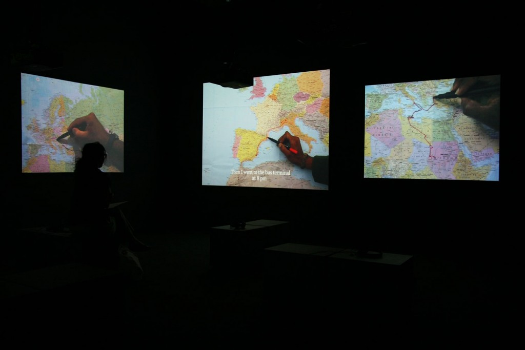 The Mapping Journey Project. Video installation. 2008-2011. 8 single channels. Variable dimensions. View at the 10th Sharjah Biennale, 2011