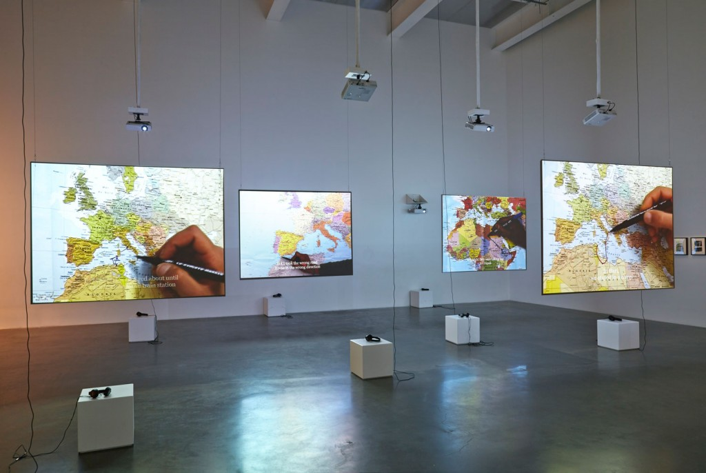 """The Mapping Journey Project. Video installation. 2008-2011. 8 single channels. Variable dimensions. View at the exhibition """"Here and Elsewhere"""", New Museum, New York. July - September, 2014."""