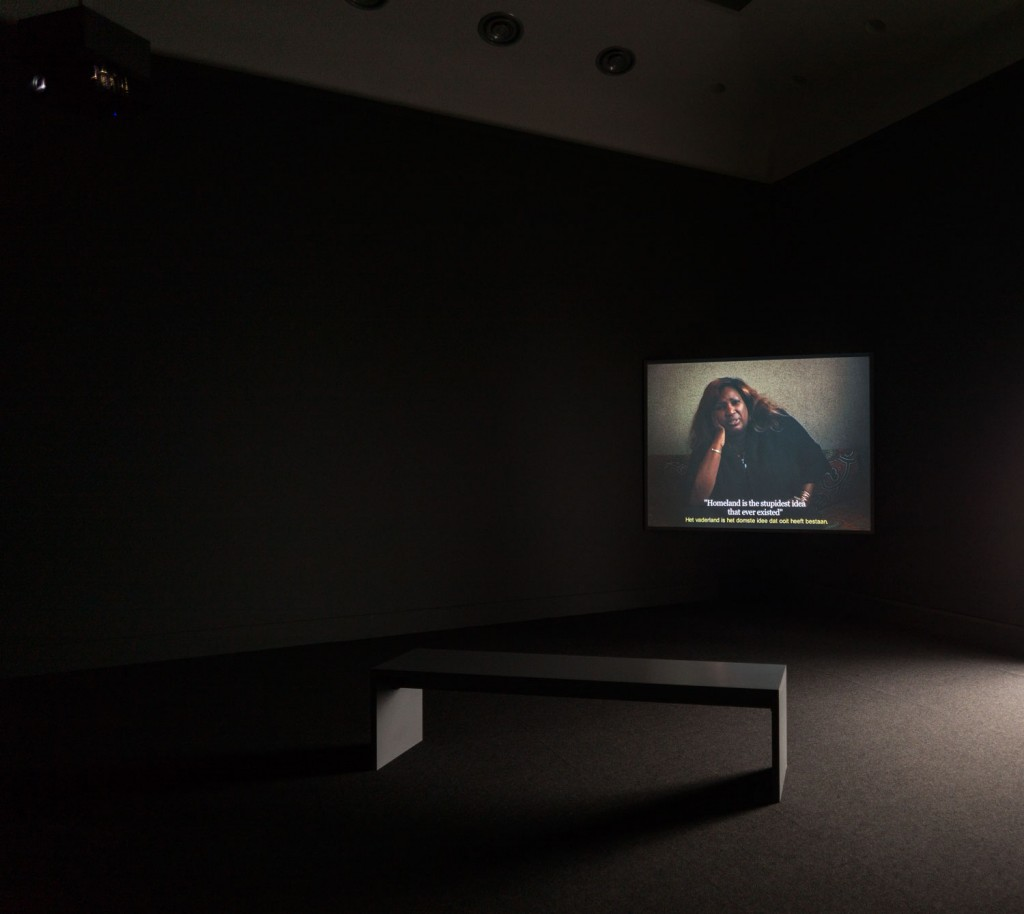 "Speeches - Chapter 1: Mother Tongue. Digital film. 2012. 23'. From The Speeches Series (2012-2013). View at the exhibition ""Positions"", Van Abbemuseum. 2014"
