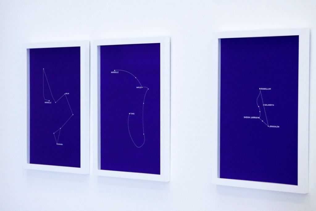 "The Constellations, Fig. 1,  Fig. 2, Fig. 3. 2011.  Silkscreen prints on paper. 42x62cm each. View at the exhibition ""Locus Agonistes: Practices and Logics of the Civic"". Curated by Okwui Enwezor. Beirut Art Center, 2011."